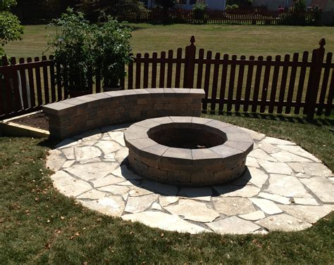 Custom Fire Pit With Limestone Base And Small Seating Wall Firepit Base