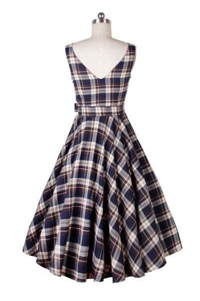 Blue Plaid Belted Dress S M L 19916 belted blue plaid vintage dress co