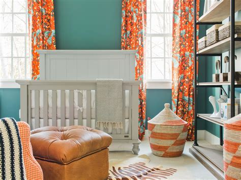 orange and blue drapes 10 gender neutral nursery decorating ideas hgtv s