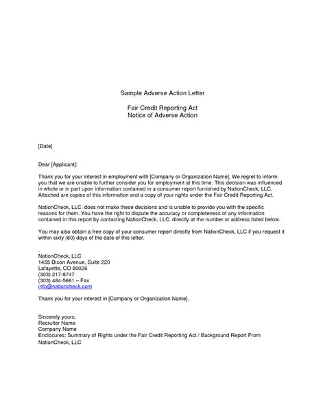 Credit Letter Before adverse notice template