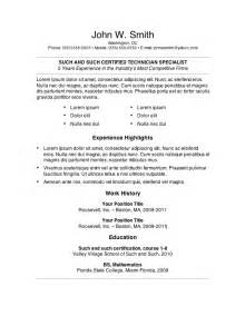 Templates For Resumes On Word 7 Free Resume Templates Primer