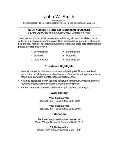 resume format template microsoft word 7 free resume templates
