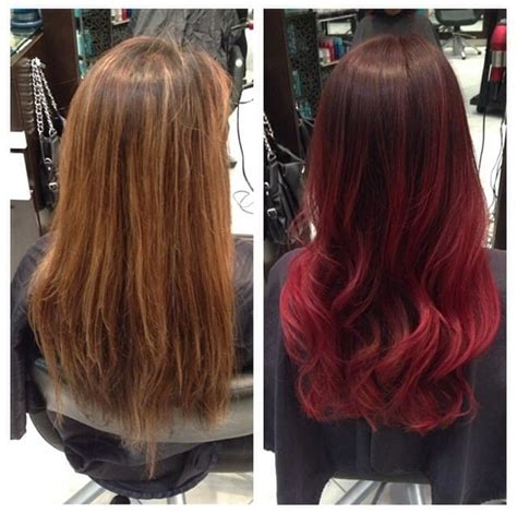 steps to doing burgundy hair with brown and caramel highlights before and after burgundy red ombr 233 by master stylist