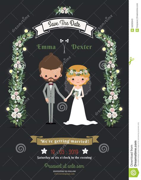rustic hipster romantic cartoon couple wedding card stock
