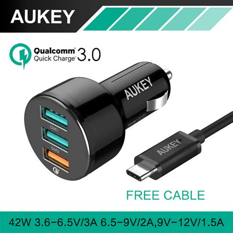 Qualcom Charge 3 0 Tech 3 Port Usb Aukey aliexpress buy aukey for qualcomm charger 3 0 with usb cable 3 ports mini usb car