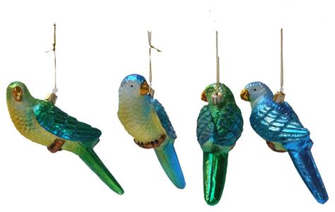 parrot ornament green blue eclectic christmas