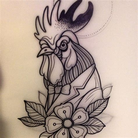 new school rooster tattoo tattoo of rooster new school animal fauna rooster