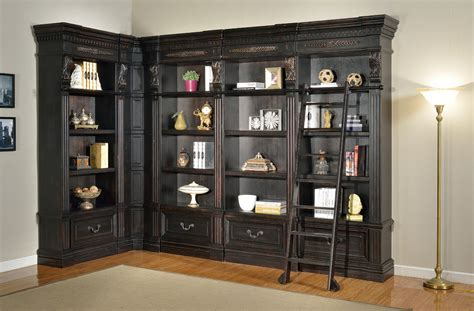 black l furniture large l shaped black wood bookcase with drawers
