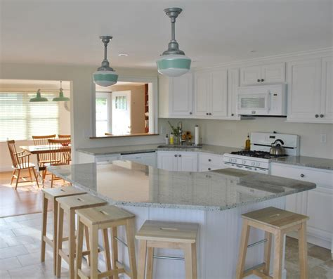 schoolhouse pendant lighting kitchen jadite pendants bring fresh look to post sandy renovations