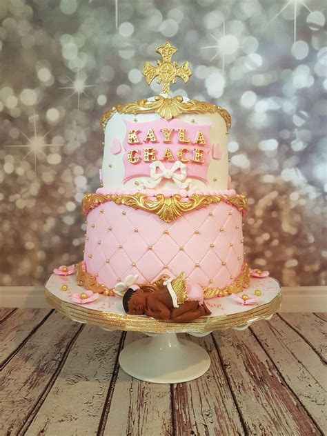Pink And Gold Baby Shower by Pink Gold And White Baby Shower Cake Cakecentral