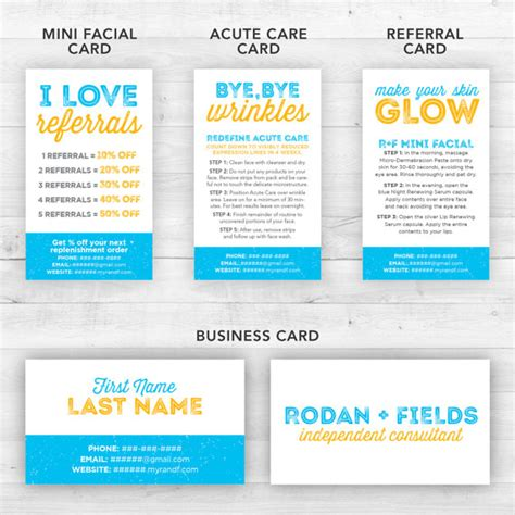 rodan and fields business card template rodan and fields business cards kit blue customized