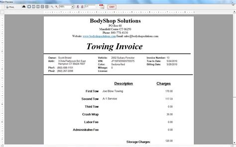 Tow Truck Invoice * Invoice Template Ideas
