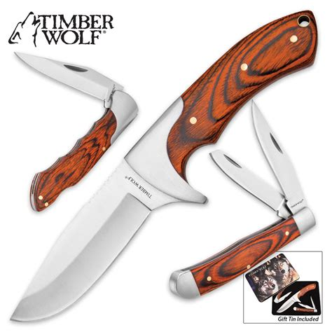 timberwolf knives timber wolf quot leader of the pack quot knife and tin set