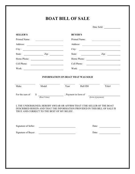 boat bill of sale agreement printable bill of sale for boat sle rental agreement