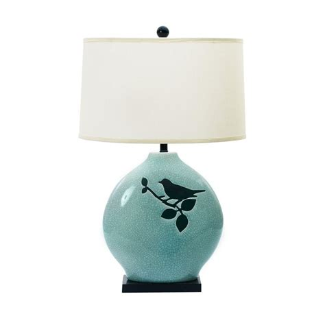ceramic bird table l fangio lighting 30 in spa blue crackle with bird ceramic