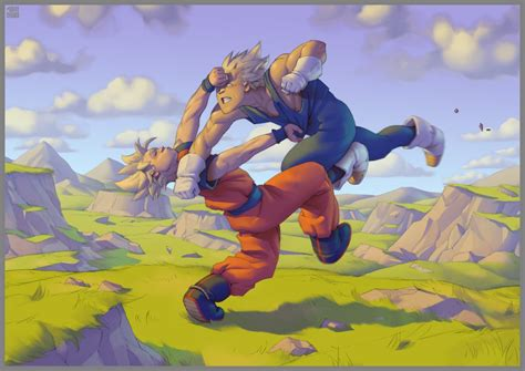 painting goku goku vs vegeta 2008 by grayshuko on deviantart