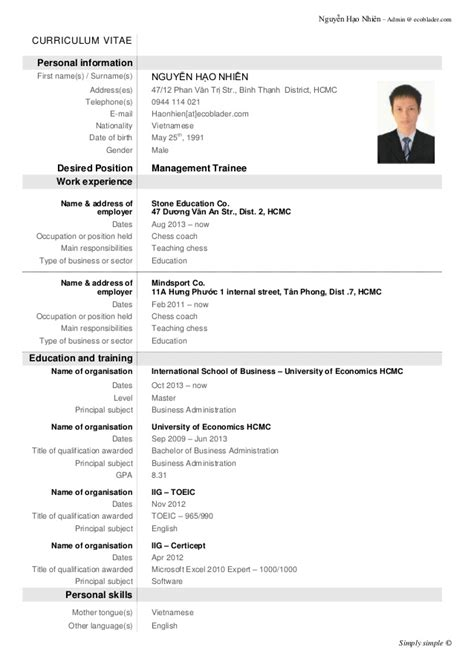 Best Resume Demo by Demo Cv