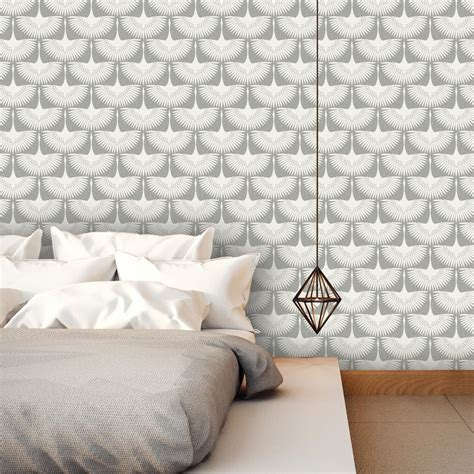 adhesive removable wallpaper tempaper genevieve gorder feather flock chalk self