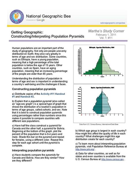Population Pyramid Worksheet by Constructing Interpreting Population Pyramids National