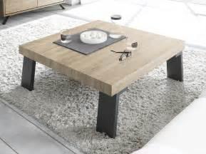 meuble table basse carre industriel en bois et mtal