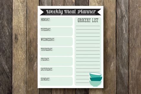 printable weekly planner notepad 15 meal planner ideas notepad printable meal planners