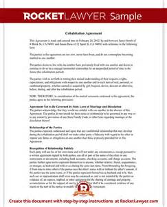 cohabitation contract template cohabitation agreement contract form with sle