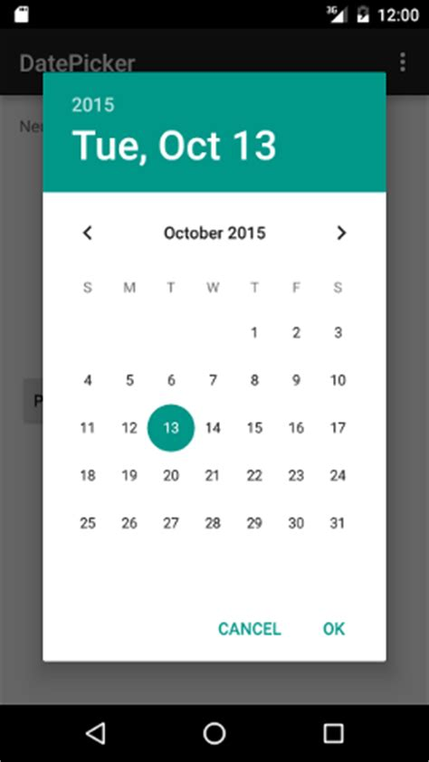 android date picker exle in android studio neurobin - Android Datepicker