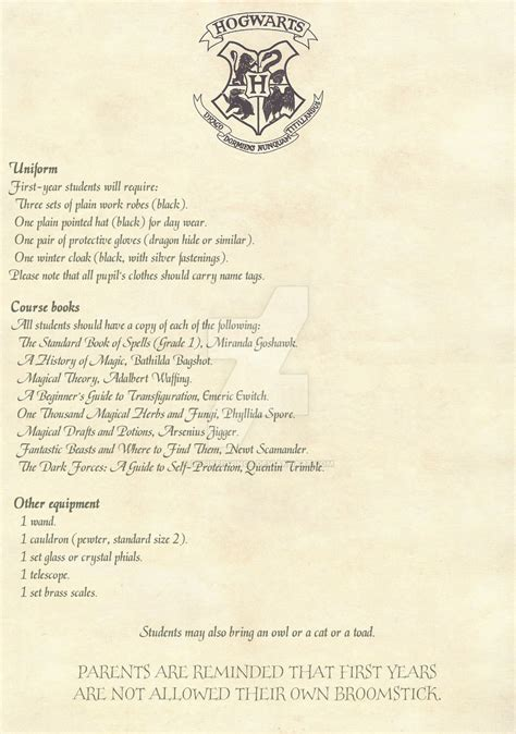 Harry Potter Acceptance Letter List Hogwarts Acceptance Letter 2 2 Option 2 By Desiredwings On Deviantart