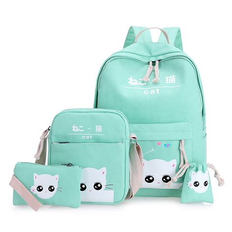 Backpack Set 4 In 1 aliexpress buy green cat backpacks for school bag for set 4 green teenagers