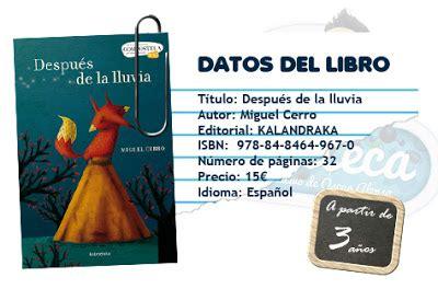 libro malena ballena la eduteca libro despu 233 s de la lluvia la eduteca