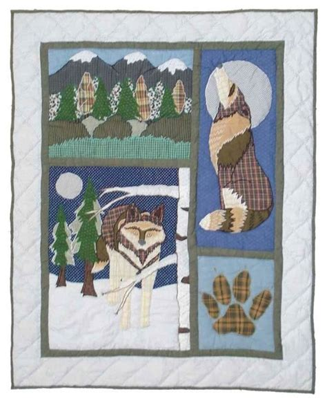 Wolf Quilt Crib 36 Quot X 46 Quot Rustic Baby Bedding By Wolf Crib Bedding
