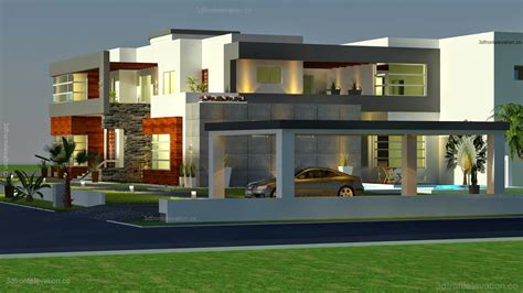 3d front elevation 500 square meter modern