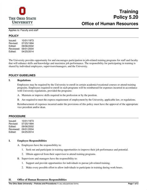 hr sop template 10 policy templates free pdf format