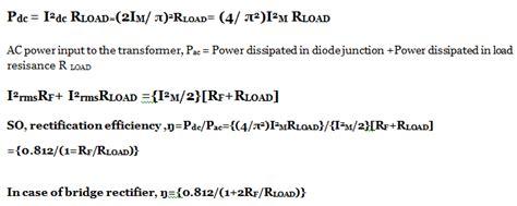 efficiency of diode bridge rectifier centre tap wave rectifier circuit operation working diagram waveform
