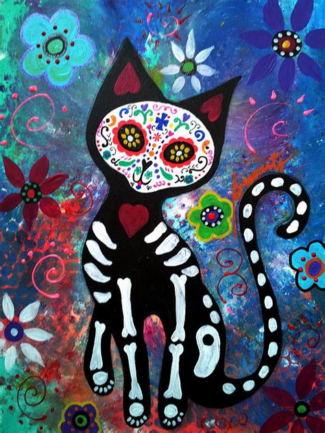 dead cat painting day of the dead cat painting by pristine cartera turkus
