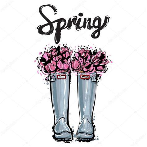 flower rubber st stivali in gomma con fiori rosa vettoriali stock