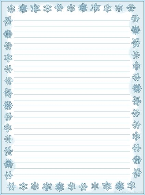 printable snowflakes stationery paper free printable stationery letter size
