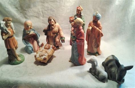 homco nativity scene home interiors 9 piece set porcelain vintage figurine homco connecting