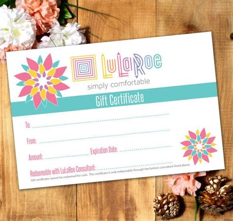 Lularoe Gift Card Template by Lularoe Gift Certificate Printable Digital By