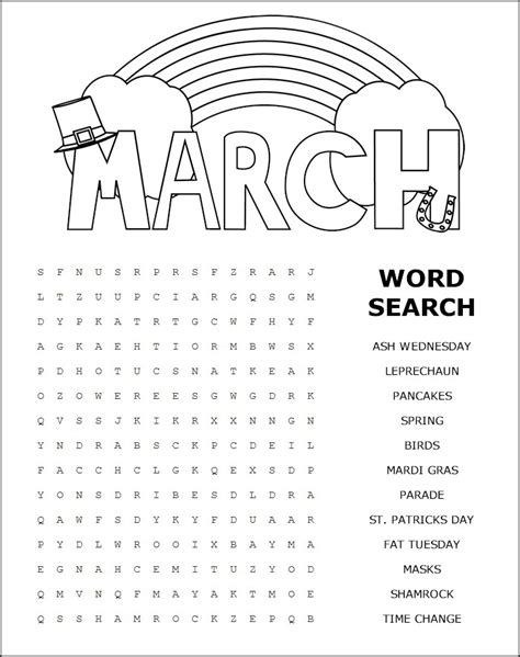 Find By Name For Free March Word Search Printable Printable Paper