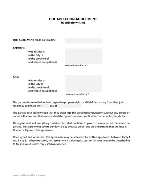 ontario separation agreement template separation agreement template in word and pdf formats