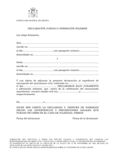 declaracion jurada de matrimonio declaraci 211 n jurada afid 225 vit