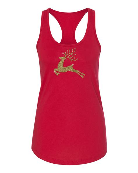 reindeer gold glitter christmas shirt womens racerback