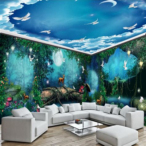 3d wall murals 3d puzzle image beibehang dream fairy tale forest moonlight house photo