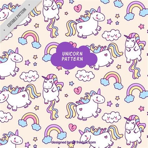 printable unicorn pattern colorful unicorn pattern vector free download