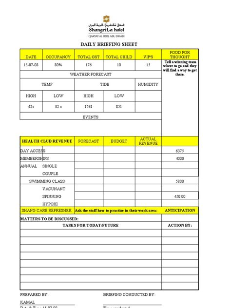 Briefing Briefformat Daily Briefing Sheet