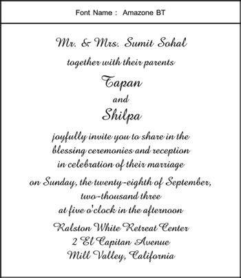 wedding text bt normal font amazone bt font