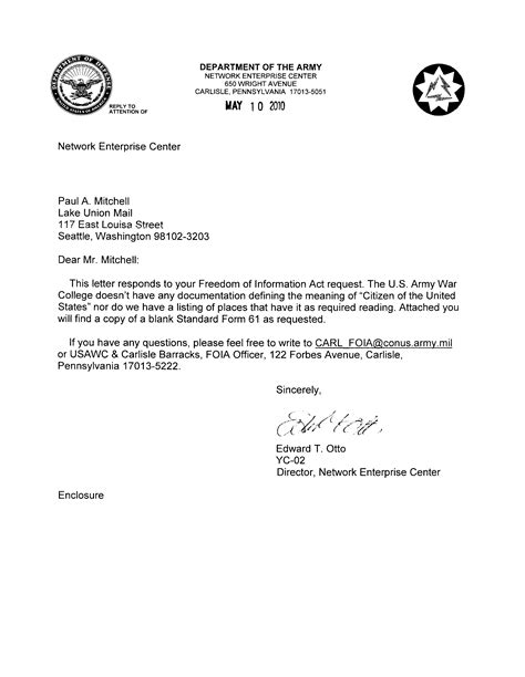 how to cc in a letter index of cc obama dod letter 2010 05 10
