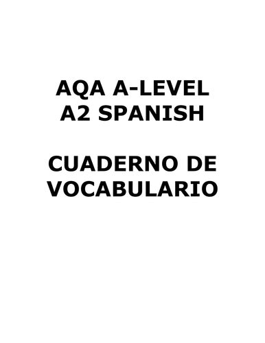 aqa a level spanish 0198415559 a level aqa spanish vocabulary by rockmonkey teaching resources tes