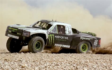 baja truck video find godzilla and a trophy truck terrorize the desert
